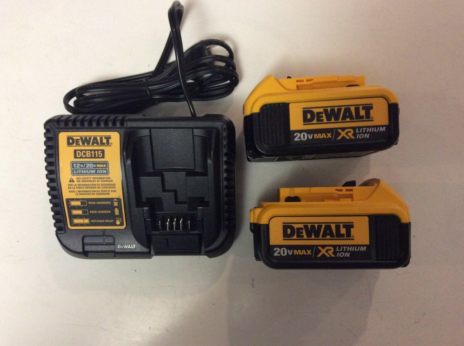 DEWALT 20V 20 VOLT XR Lithium Ion 4.0 AH DCB204-2 & DCB115 Charger Combo Set NEW