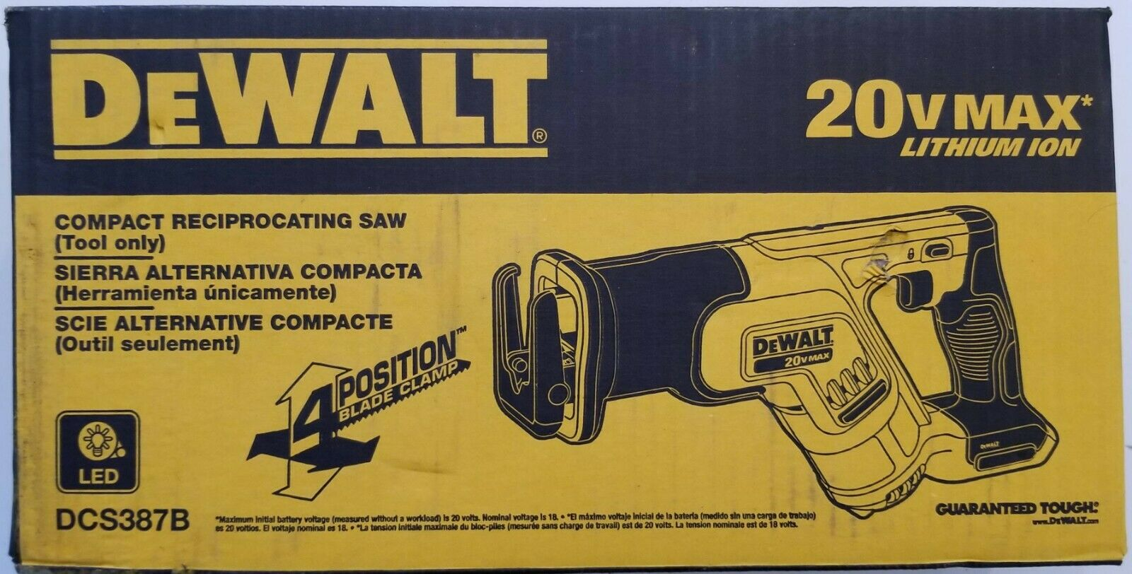DEWALT DCS387B 20V 20 Volt Max Cordless Compact Reciprocating Saw Tool Only NIP