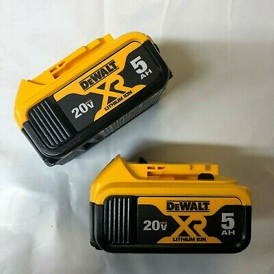 Dewalt 2 Pack DCB205 20 Volt Lithium 5.0 Amp Battery New W Fuel Gage DCB205-2