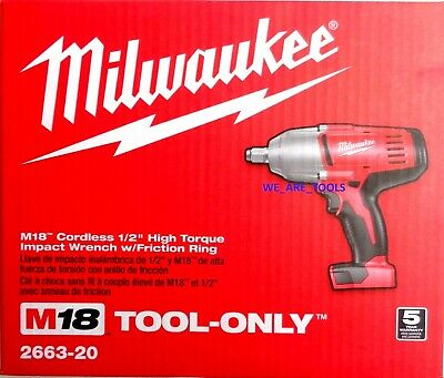 New In Box Milwaukee M18 2663-20 Cordless 1/2″ High Torque Impact Wrench 18 Volt